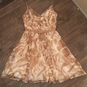 Arden B cream and tan silk and rayon dress